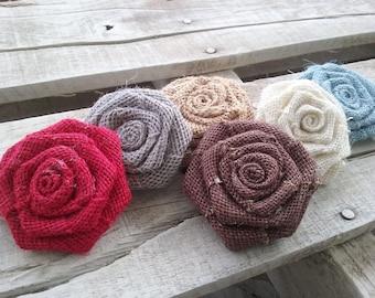 "2"" Burlap Rosettes, Your choice Various Colors, Bulk Burlap Roses, Rustic, Shabby Chic, Country Wedding Flowers, DIY Craft Rosettes"
