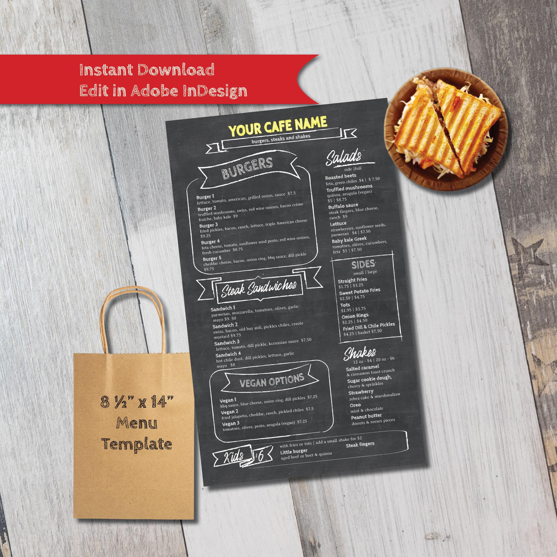 Chalkboard Doodle Style Cafe or Restaurant Menu Template flat | Etsy
