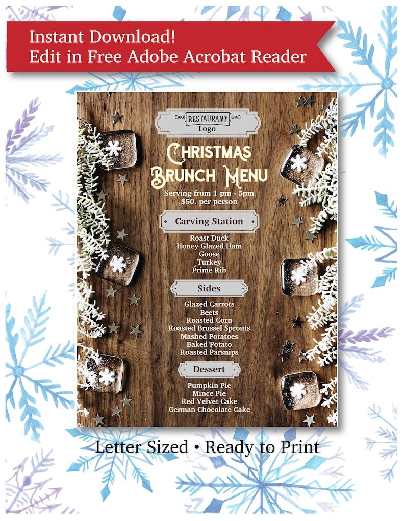 Christmas Brunch Menu.Elegant Christmas Brunch Restaurant Or Cafe Menu Flyer Letter Size Ready To Edit In Free Adobe Reader