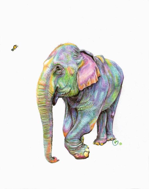 Olifant oma Kabu schilderij Pastel kleurrijke Etsy olifant Rainbow rFqra