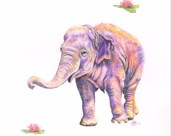 Baby Elephant Painting Pink Purple Happy Elephant Painting Cheerful Elephant with Two Lotus Flowers Baby Girl Elephant