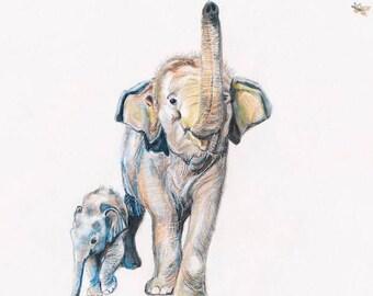 Baby Elephant Fine Art Print- Baby Elephant Shower Gift- Mommy and Baby Elephant- Nursery Decor- Elephant Gift- 10 x 14- Save Elephants-