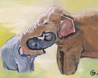 Mommy And Baby Elephant Painting! One of a Kind Nursery Mommy to Be Gift Fine Art Wall Art Adorable Elephant Painting