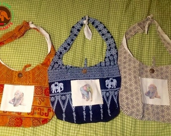Cute Boho Tribal Messenger Bags Sustainably Sourced Fair Trade Fabric Custom Elephant Print Lined Save Elephants 100% Cotton Chic Cute