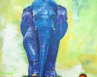 Baby Elephant Painting Blue Elephant Boy Nursery Decor Children Decor Original One of A Kind Elephant Painting Navaan Elephant Gift