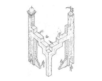 Kleurplaten Middeleeuwse Letters.Coloring Letter M Etsy