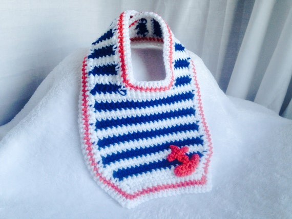 Crochet Pattern Baby Bib Nautical Baby Bib Pattern Anchor Etsy