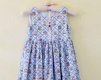 Girls' Spring Dress w/ Lace Trim - Handmade