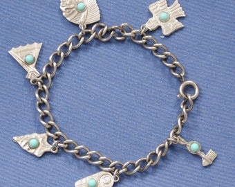 """Almost 7"""" vintage Western Charm Bracelet with 7 charms, turquoise stones"""
