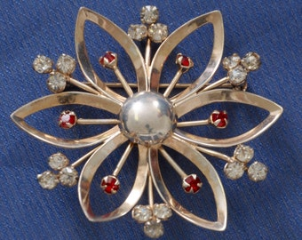Antique Brooch, gold over marked Sterling rhinestones and red faceted stones