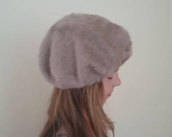 3707ddde0f7 Vintage soft classic Beret Hat Kangol Natural ANGORA WOOL soft warm French