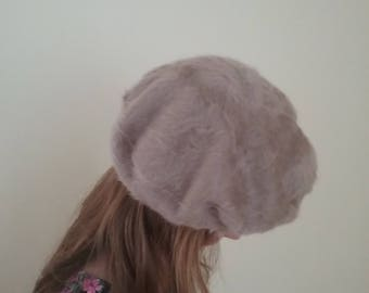 New never used 'beige' classic Beret Hat Kangol Natural ANGORA WOOL soft warm French