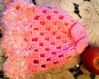 Handmade crochet newborn girl hat, Soft infant hat, Baby girl hat, Crochet baby girl hat, Photo prop hat, Baby shower, Baby gift, pink