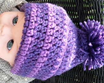 Handmade crochet unisex beanie fits size 3  to 18  month. Warm & comfortable - shades of purple. Photo prop. Baby Shower toddler birthday