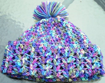 Handmade crochet unisex beanie fits 12 month to 4 T. Variegated colors in purple, blue, green and yellow.  Photo prop, toddler gift.