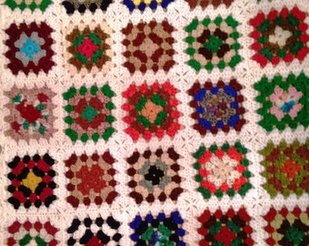 Crochet Baby Blanket, Granny Squares, kaleidoscope of colors, Handmade Baby throw,  Baby afghan blanket, Nursery décor