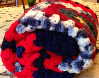 Crochet stroller cover, Handmade unisex Baby throw, Baby afghan blanket, Crochet Baby Blanket, Navy and read colors and very soft flowing