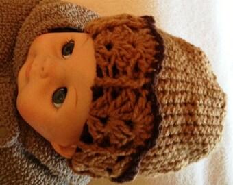 Handmade crochet newborn unisex hat, Warm infant hat, Unisex baby hat, Crochet unisex baby hat, Photo prop, Baby shower, Baby gift, Brown