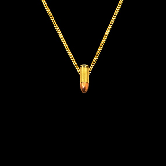 Gouden Bullet Charm ketting, korte gouden ketting, gouden 9mm echte kogel ketting