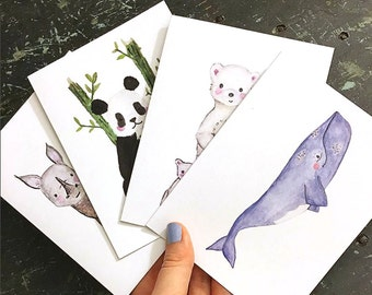 Pick Your Own MIXED BOX SET of 5 EcoFriendly Cards - Recycled, Animals, Wildlife, Ocean, Greeting Card, Eco Card, Recycled Card, Puns