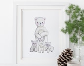 Polar Bear Family Print - EcoFriendly, Eco, Green, Recycled, Gives Back, Wildlife Conservation, Watercolor, Baby