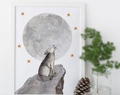 Gray Wolf / Original - Watercolor, Wolves, EcoFriendly, Eco, Green, Recycled, Gives Back, Wildlife Conservation, Moon, Stars, Woodland, grey