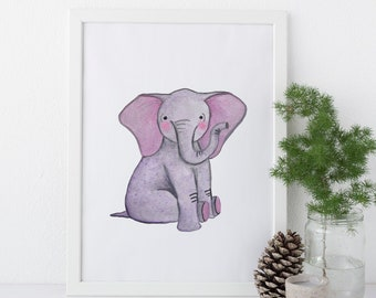 Pygmy Elephant Print / Original - Watercolor, Elephants, EcoFriendly, Eco, Green, Recycled, Gives Back, Wildlife Conservation, Baby, Safari
