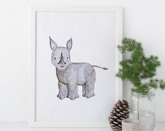 Black Rhino Print - Watercolor, Rhinos, EcoFriendly, Eco, Green, Recycled, Gives Back, Wildlife Conservation, Baby, Safari
