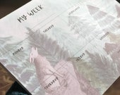 Wolf Howling in the Pine Tree Watercolor Desk Pad / Weekly Planner with To Do List