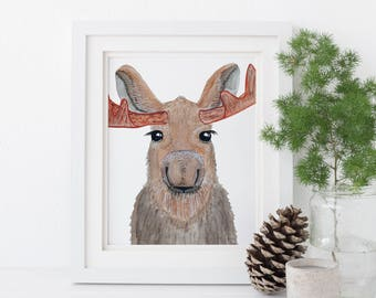 Moose Print - EcoFriendly, Eco, Green, Recycled, Gives Back, Wildlife Conservation, Watercolor, Woodland, Forest, Animals, Wild, Baby