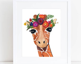 Giraffe Print // Flower Crown - EcoFriendly, Eco, Green, Recycled, Gives Back, Wildlife Conservation, Watercolor, Baby, Safari