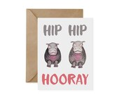 Pygmy Hippo Card / Hip Hip Hooray - EcoFriendly, Hippos, Congrats, Celebrate, Water, Endangered, Recycled, Gives Back, Wildlife Conservation