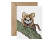 Rusty Spotted Cat Card / Original - EcoFriendly, Jungle Animal, Endangered, Recycled, Gives Back, Wildlife Conservation, Cat, Cat Card