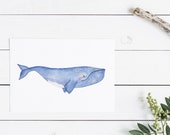 Right Whale Print - EcoFriendly, Eco, Green, Recycled, Gives Back, Wildlife Conservation, Whales, Watercolor, Ocean, Marine, Animals