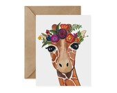 Giraffe Card / Flower Crown - EcoFriendly, Safari Animal, Endangered, Recycled, Gives Back, Wildlife Conservation