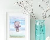 Manatee Print - EcoFriendly, Eco, Green, Recycled, Gives Back, Wildlife Conservation, Watercolor, Baby