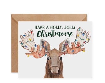 Have A Holly, Jolly Christmoose Holiday Greeting Card - ecofriendly, recycled, animals, christmas, pun, cute, green, moose, lights, maker