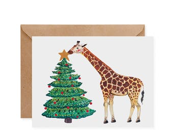 Giraffe Holiday Print / Card  - Tree, Christmas Tree, Star, eco-friendly, recycled, animals, christmas, pun, cute, green, maker, watercolor