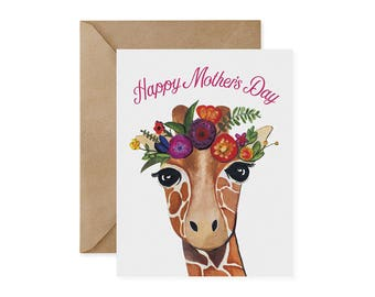 Happy Mother's Day Giraffe Card / Flower Crown - EcoFriendly, Safari Animal, Endangered, Recycled, Gives Back, Wildlife Conservation