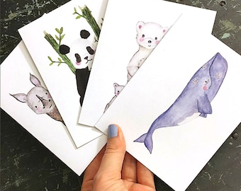 MIXED BOX SET of 10 EcoFriendly Cards (Pick Your Own) - Recycled - Rhino, Whale, Wolf, Polar Bear, Cheetah, Sea Otter, Giant Panda
