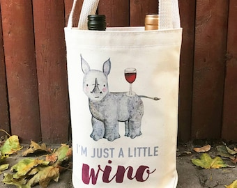 """Organic Cotton Wine Bag / Tote """"I'm just a little wino"""" - black rhino, give back, eco-friendly, wine lover, wildlife conservation, rhinos"""