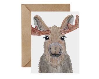 Moose Card / Original - EcoFriendly Card, Gives Back, Wildlife Conservation, Recycled, Ethical, Renewable Energy, Forest