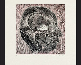 Anatomical Head Lino Print (pink and black)