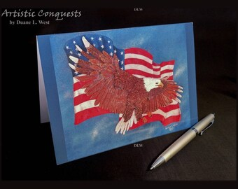 GREETING CARD - Patriotic Bald Eagle, American Flag Card / Memorial, Veterans Day, 4th of July / Military Retirement / Fine Art Card - 5x7""