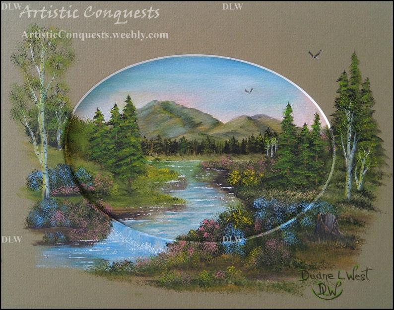 Oregon Mountain Landscape  Pacific Northwest River Framed 8x10 ORIGINAL Oil Painting Summer Forest Landscape Art  Housewarming Gift