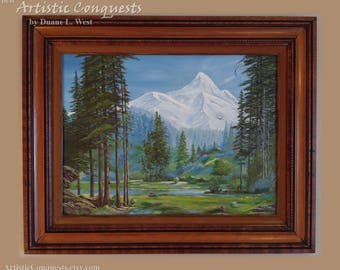 ORIGINAL Oil Painting - Snowy Mount Hood, Oregon Landscape / Pacific Northwest Art, Mountain Forest Meadow / Fathers Day Gift, Wedding Gift
