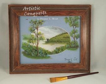 "ORIGINAL Oil Painting - Urquhart Castle, Loch Ness Lake, Scotland / Stormy European Castle Landscape Art / Wedding Gift - Framed 8x10"""