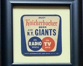 New York (Baseball) Giants quot Knickerbocker quot Framed Vintage Beer Coaster