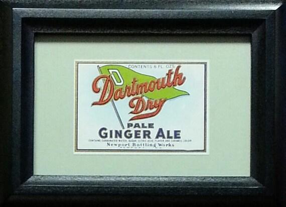 Vintage Dartmouth Dry Ginger Ale Soda Label Newport