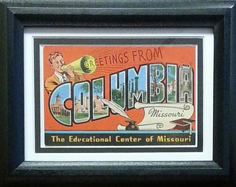 "Missouri Tigers ""Greetings from Columbia"" Framed Vintage Postcard"